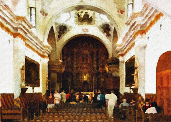 Altar Poster featuring the photograph Mission San Xavier Del Bac by Bob and Nadine Johnston
