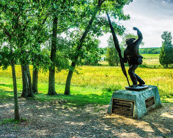 Grand Poster featuring the digital art Mississippi Memorial Gettysburg Battleground by Bob and Nadine Johnston