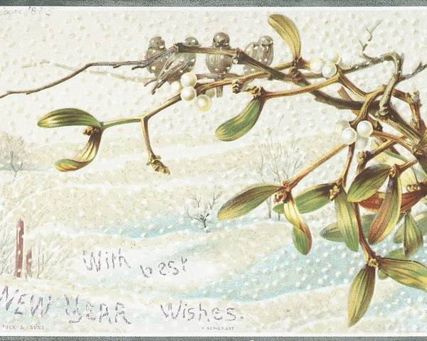 Greetings Poster featuring the painting Mistletoe In The Snow by English School