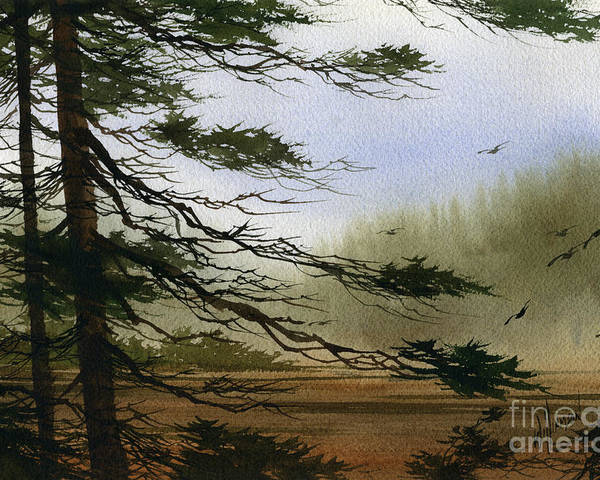 Misty Watercolors Poster featuring the painting Misty Forest Bay by James Williamson