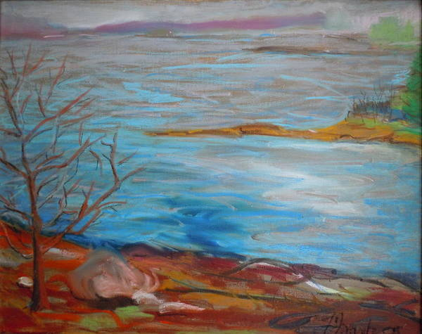 Landscape Poster featuring the painting Misty Surry by Francine Frank