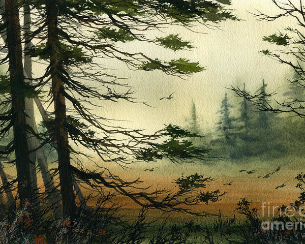 Misty Watercolors Poster featuring the painting Misty Tideland Forest by James Williamson
