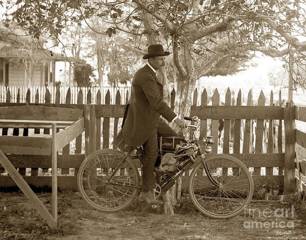 Mitchell Poster featuring the photograph Mitchell Motorcycle Circa 1907 by California Views Archives Mr Pat Hathaway Archives
