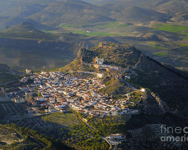 Aerial Photo Poster featuring the photograph Moclin Castle by Guido Montanes Castillo