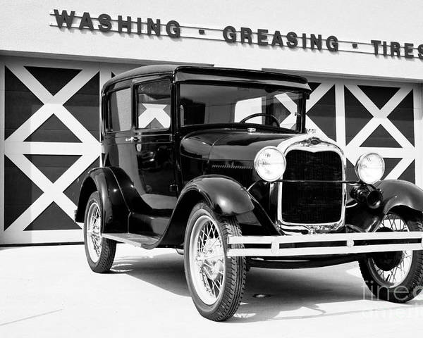 B&w Poster featuring the photograph Model A Black And White by Lawrence Burry