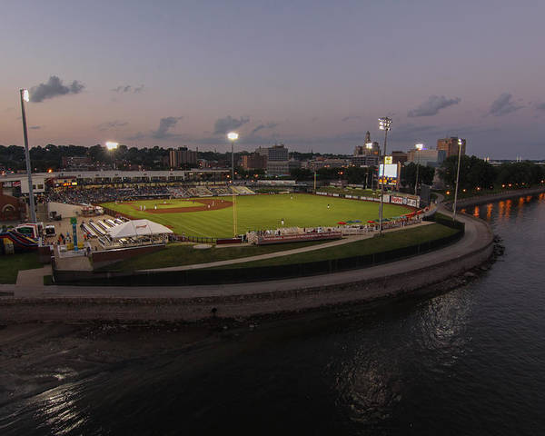Modern Woodmen Ball Park Poster featuring the photograph Modern Woodmen Park At Night by Heidi Brandt