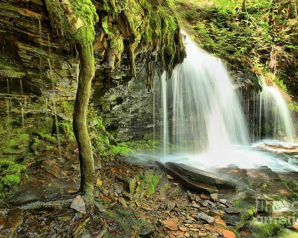 Mohawk Falls Poster featuring the photograph Mohawk Falls At Ricketts Glen by Adam Jewell