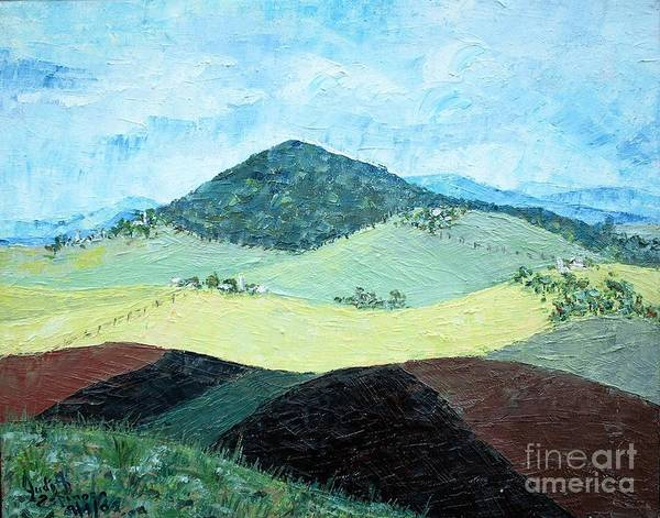 Centered Mole Hill With Dark Foreground; Plowed Fields Poster featuring the painting Mole Hill - SOLD by Judith Espinoza