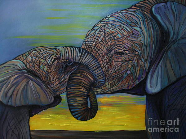 Elephant Poster featuring the painting Mommy and Baby by Aimee Vance