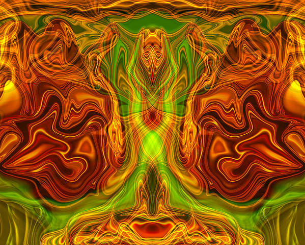 Abstract Poster featuring the painting Monarch Butterfly by Omaste Witkowski