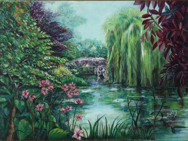 Betty Glanville Poster featuring the painting Monet Gardens by Betty Glanville