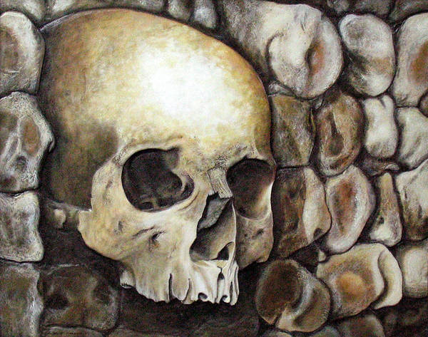 Skulls Poster featuring the relief Monk Relic by Elaine Booth-Kallweit