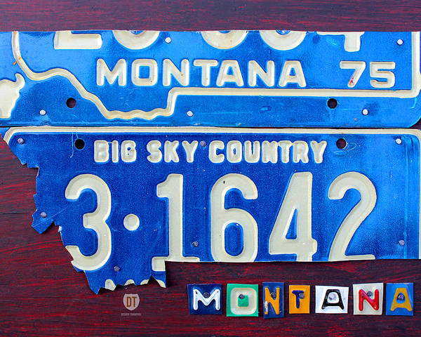 License Plate Map Poster featuring the mixed media Montana License Plate Map by Design Turnpike
