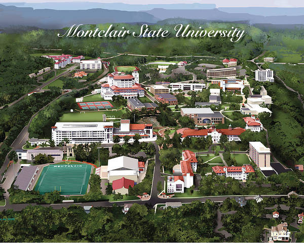 Montclair State University Poster featuring the drawing Montclair State University by Rhett and Sherry Erb