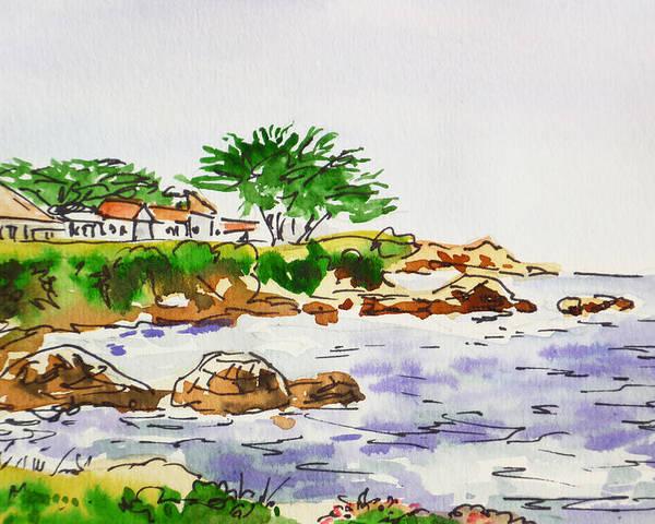 Monterey Poster featuring the painting Monterey- California Sketchbook Project by Irina Sztukowski