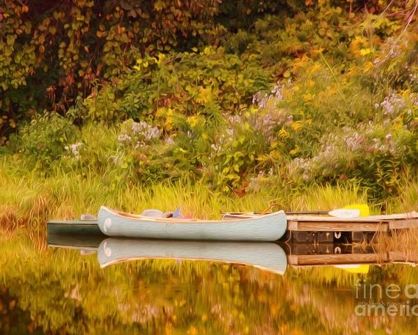 Canoe Poster featuring the photograph Montpelier Canoe by Deborah Benoit