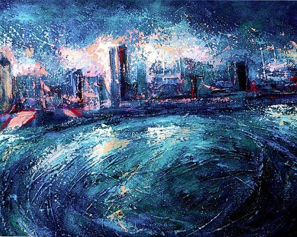 Landscape Poster featuring the painting Montreal At Night by Ion vincent DAnu