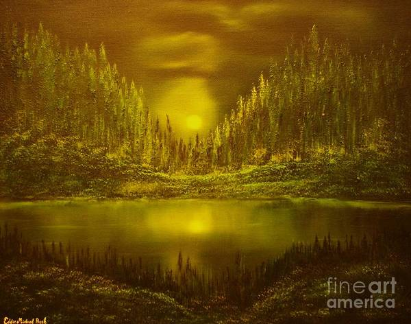 Evening Moonlight Poster featuring the painting Moon Lake Reflection-original Sold- Buy Giclee Print Nr 33 Of Limited Edition Of 40 Prints by Eddie Michael Beck