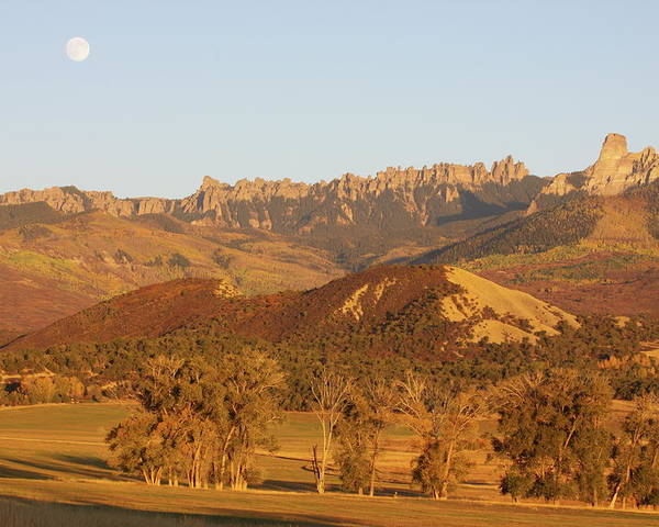 Landscapes Poster featuring the photograph Moon Over Cimarron by Eric Glaser