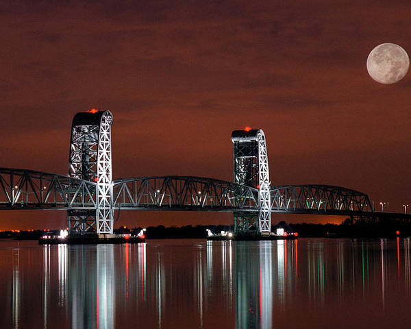 Bridges Poster featuring the photograph Moon Over Marine Parkway Bridge - Gil Hodges Memorial Bridge by Gary Heller