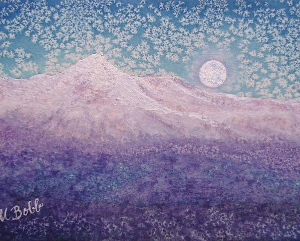 Mountain Poster featuring the painting Moon Over Snowy Peaks by Margaret Bobb