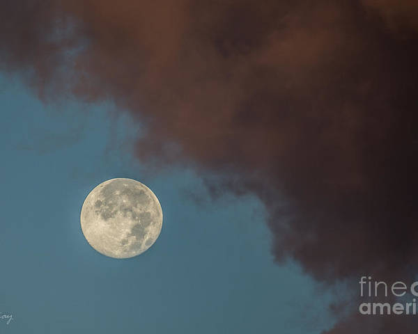 Moon Poster featuring the photograph Moon Transition From Night To Day by Rene Triay Photography