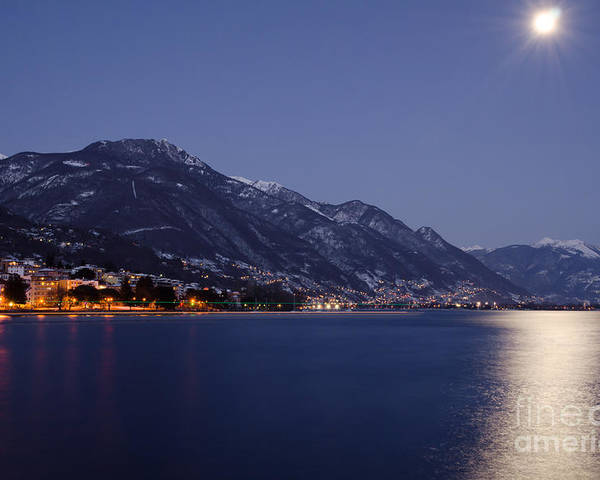 Moon Poster featuring the photograph Moonlight Over A Lake by Mats Silvan