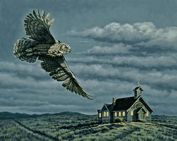 Wildlife Poster featuring the painting Moonlight Quest  by Paul Krapf
