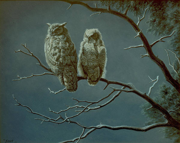Wildlife Poster featuring the painting Moonlight Watchers by Paul Krapf