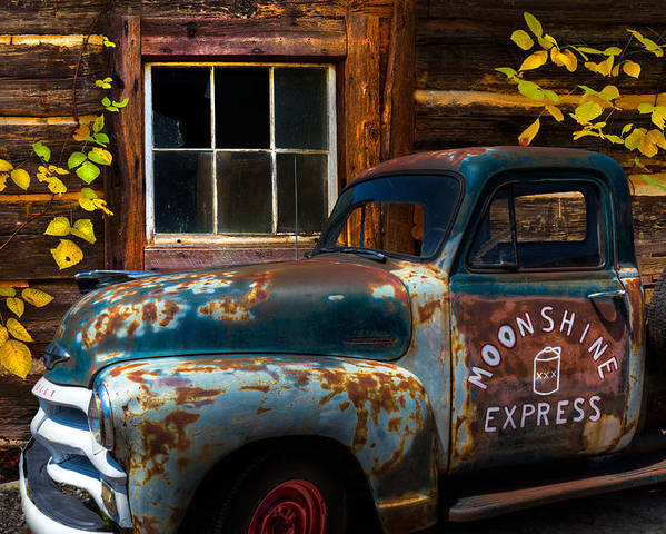 1950s Poster featuring the photograph Moonshine Express by Debra and Dave Vanderlaan