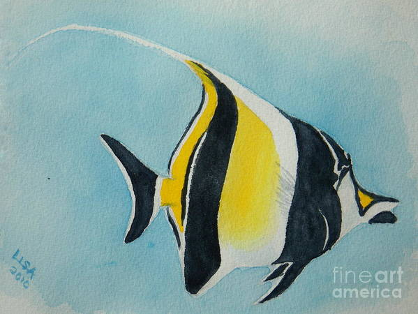 Tropical Fish Poster featuring the painting Moorish Idol by Lisa Pope