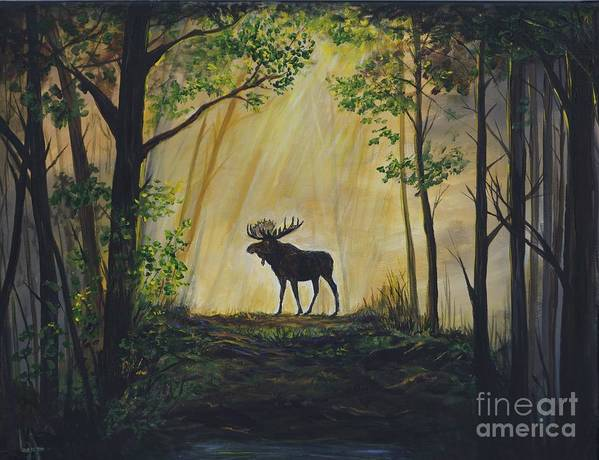 Poster featuring the painting Moose Magnificent by Leslie Allen