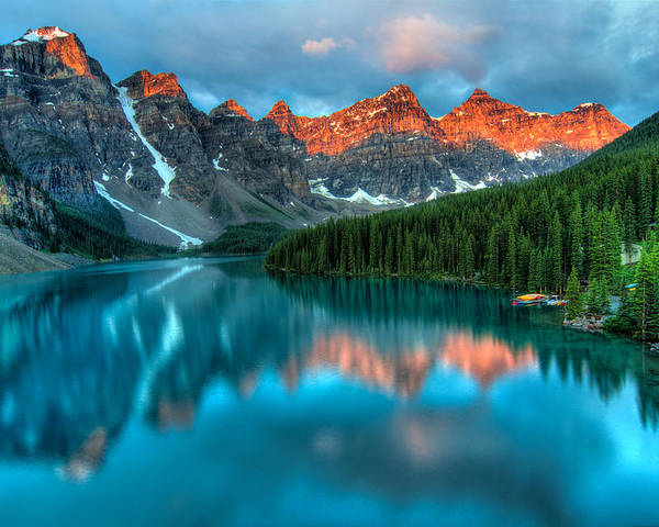 Alberta Poster featuring the photograph Moraine Lake Sunrise by James Wheeler