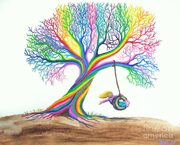 Enchanted Tree Of Rainbows Poster featuring the painting More Rainbow Tree Dreams by Nick Gustafson