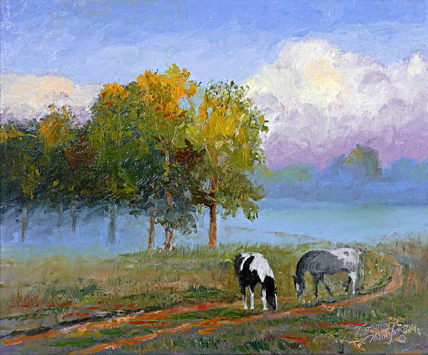 Landscape Poster featuring the painting Morning At Foggy Bottom by Tommy Thompson