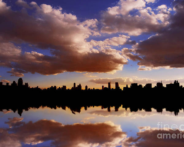 New York City Poster featuring the photograph Morning At The Reservoir New York City Usa by Sabine Jacobs