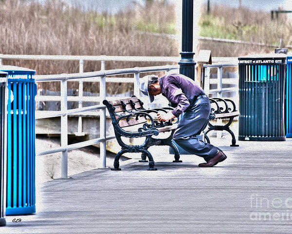 Garbage Cans Poster featuring the photograph Morning Exercise On The Boardwalk by Crystal Harman