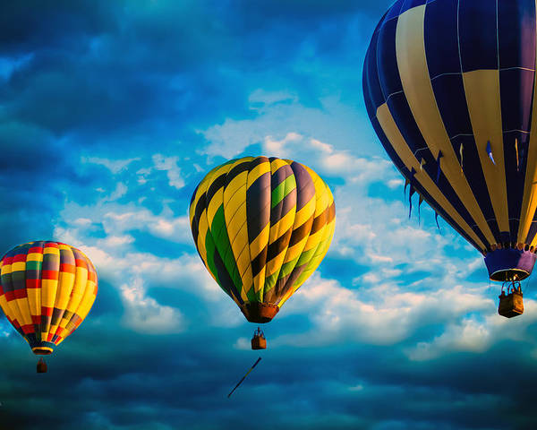 Hot Air Balloon Poster featuring the photograph Morning Flight Hot Air Balloons by Bob Orsillo