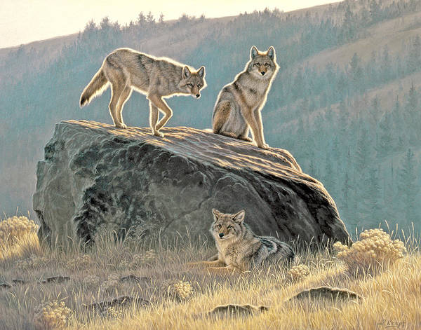 Wildlife Poster featuring the painting Morning Lookouts by Paul Krapf