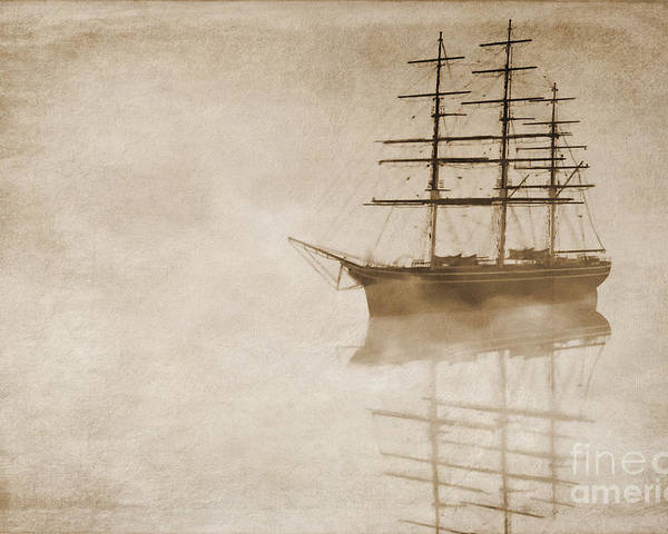 Sailing Ship Poster featuring the digital art Morning Mist In Sepia by John Edwards