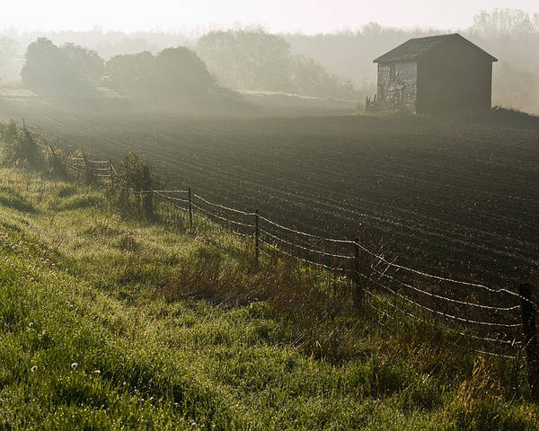 Shed Poster featuring the photograph Morning Mist Over Field And by Jim Craigmyle