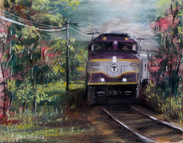 Train Poster featuring the painting Morning Outbound by Jack Skinner