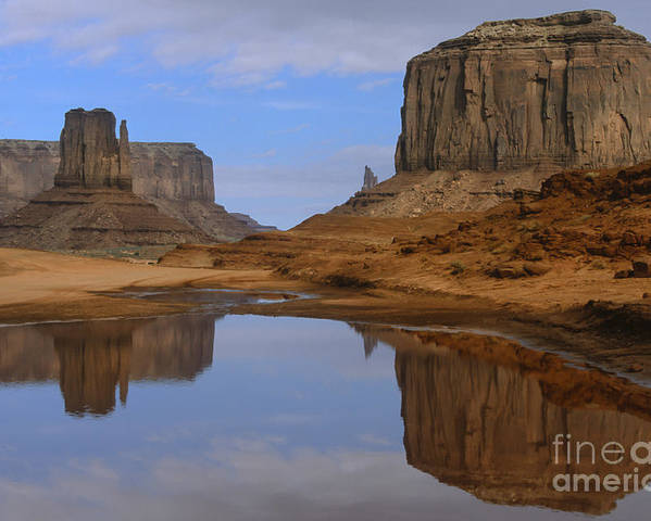 Southwest Poster featuring the photograph Morning Reflections In Monument Valley by Sandra Bronstein