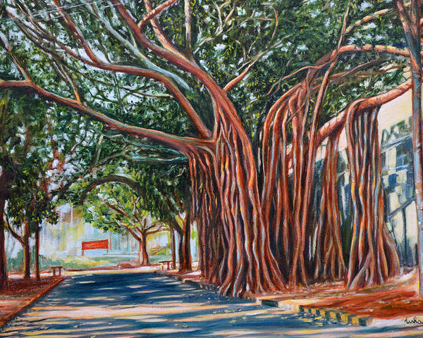 Banyan Poster featuring the painting Morning Shadows by Usha Shantharam