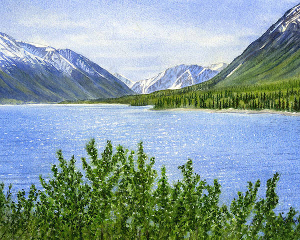 Watercolor Poster featuring the painting Morning Sun On Kenai Lake by Sharon Freeman