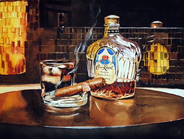 Cigar Poster featuring the painting Mosaic Reflections by Spencer Meagher