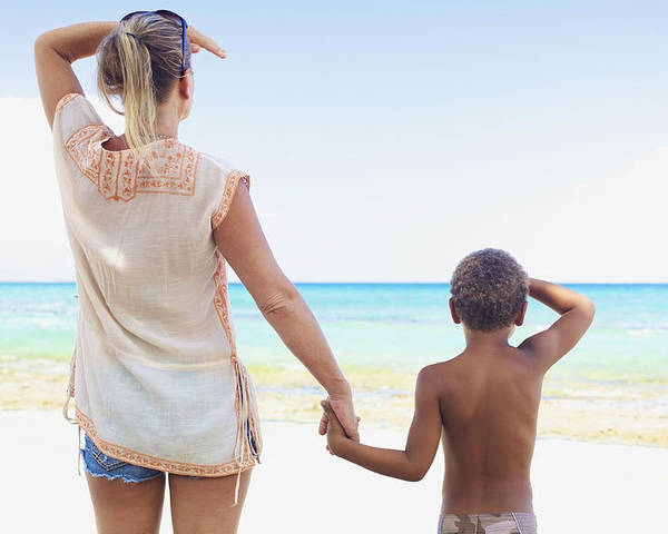 Beach Poster featuring the photograph Mother And Son At Beach by Kicka Witte