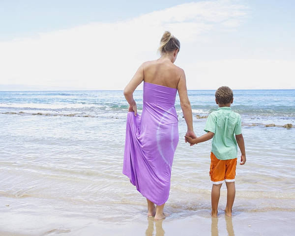 Beach Poster featuring the photograph Mother And Son On Beach by Kicka Witte