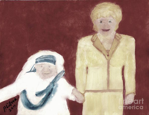 Mother Teresa Poster featuring the painting Mother Teresa And Princess Diana In Heaven 3 by Richard W Linford