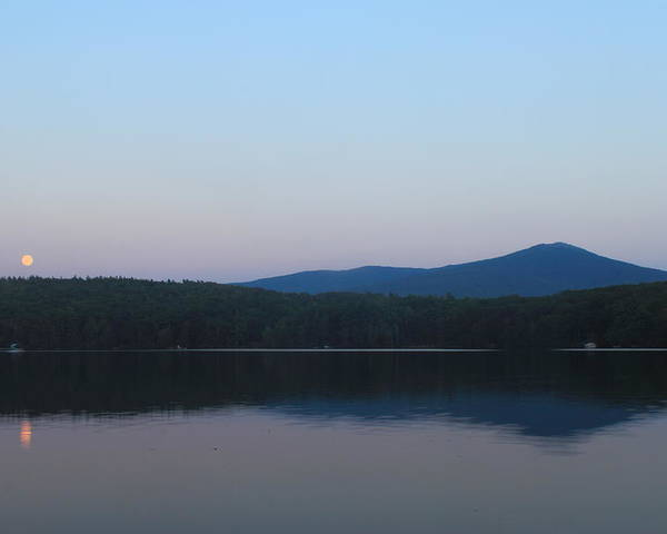 Moon Poster featuring the photograph Mount Monadnock Full Moon Rising by John Burk